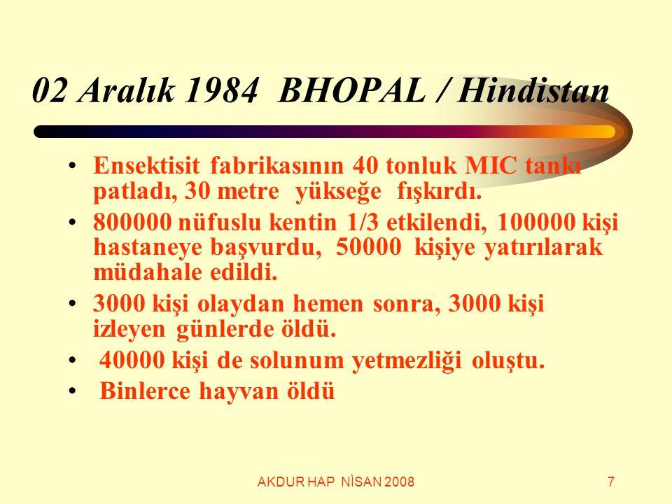 AKDUR HAP NİSAN 20087 02 Aralık 1984 BHOPAL / Hindistan Ensektisit fabrikasının 40 tonluk MIC tankı patladı, 30 metre yükseğe fışkırdı. 800000 nüfuslu