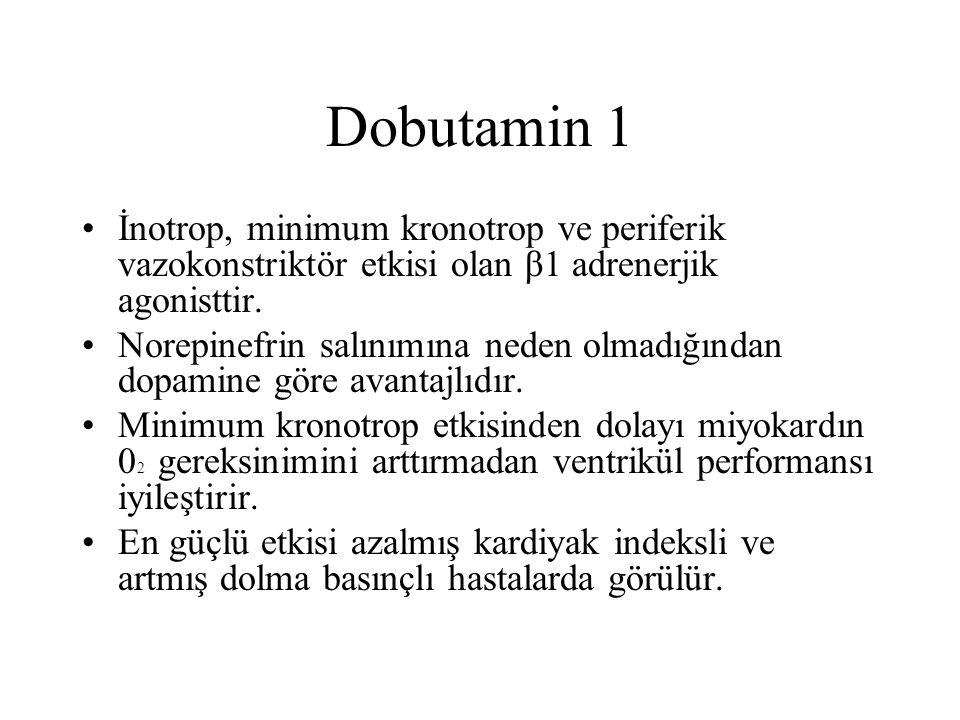 Dobutamin 2 Dilate ventriküllü hastalarda duvar gerilimini ve dolma basınçlarını azaltır.