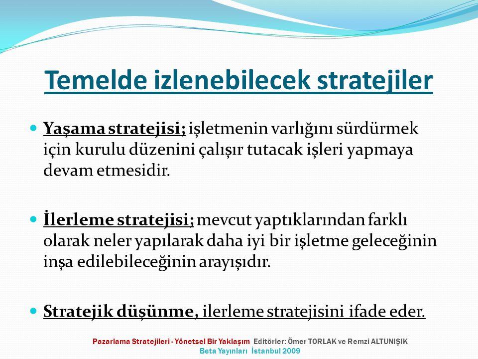 Temelde izlenebilecek stratejiler Yaşama stratejisi; işletmenin varlığını sürdürmek için kurulu düzenini çalışır tutacak işleri yapmaya devam etmesidir.