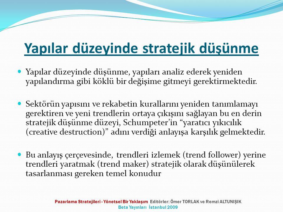 Yapılar düzeyinde stratejik düşünme Yapılar düzeyinde düşünme, yapıları analiz ederek yeniden yapılandırma gibi köklü bir değişime gitmeyi gerektirmektedir.