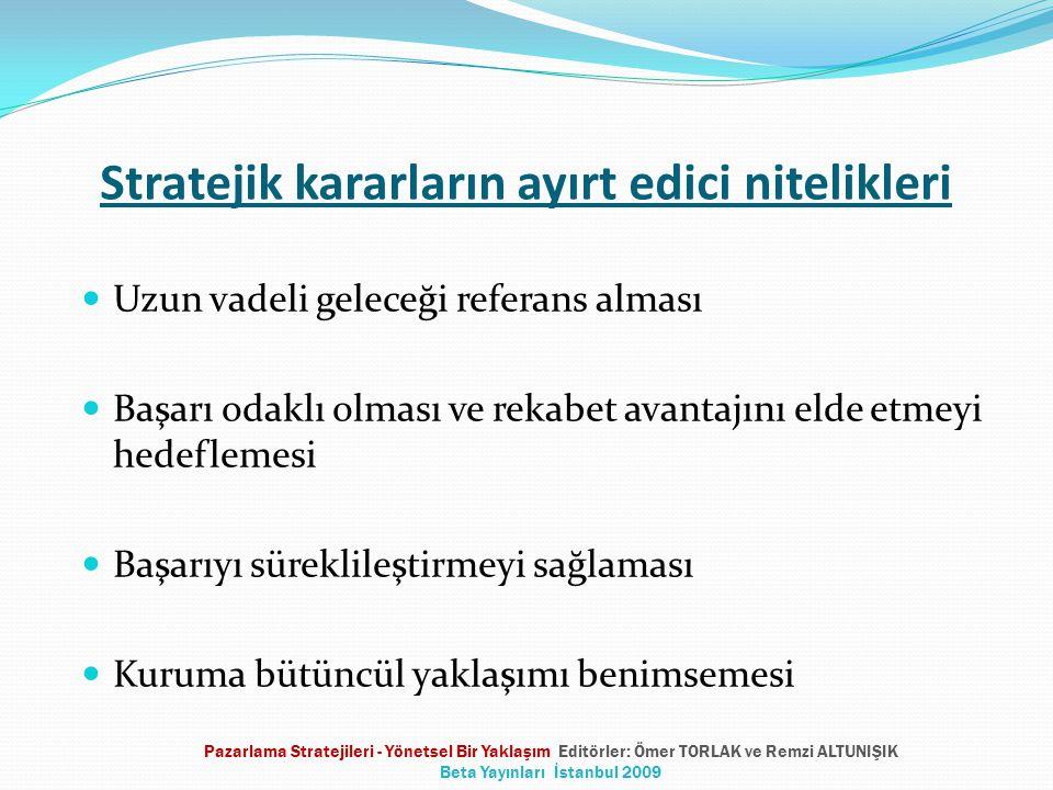 Stratejik kararların ayırt edici nitelikleri Uzun vadeli geleceği referans alması Başarı odaklı olması ve rekabet avantajını elde etmeyi hedeflemesi Başarıyı süreklileştirmeyi sağlaması Kuruma bütüncül yaklaşımı benimsemesi Pazarlama Stratejileri - Yönetsel Bir Yaklaşım Editörler: Ömer TORLAK ve Remzi ALTUNIŞIK Beta Yayınları İstanbul 2009