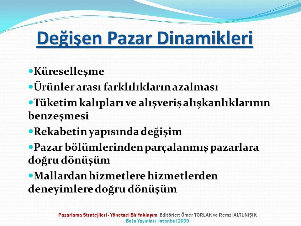 Değişen Pazar Dinamikleri Küreselleşme Ürünler arası farklılıkların azalması Tüketim kalıpları ve alışveriş alışkanlıklarının benzeşmesi Rekabetin yapısında değişim Pazar bölümlerinden parçalanmış pazarlara doğru dönüşüm Mallardan hizmetlere hizmetlerden deneyimlere doğru dönüşüm Pazarlama Stratejileri - Yönetsel Bir Yaklaşım Editörler: Ömer TORLAK ve Remzi ALTUNIŞIK Beta Yayınları İstanbul 2009