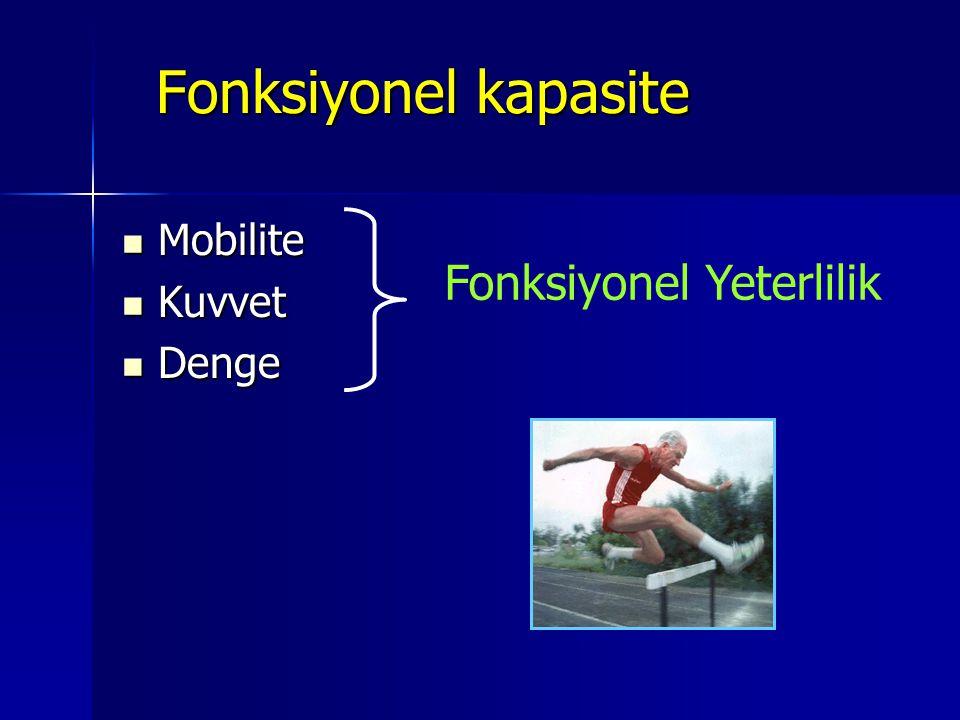 Fonksiyonel kapasite Fonksiyonel kapasite Mobilite Mobilite Kuvvet Kuvvet Denge Denge Fonksiyonel Yeterlilik