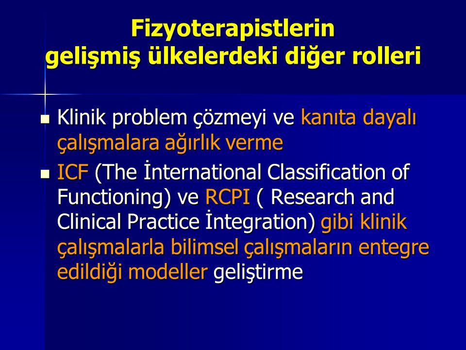 Fizyoterapistlerin gelişmiş ülkelerdeki diğer rolleri Klinik problem çözmeyi ve kanıta dayalı çalışmalara ağırlık verme Klinik problem çözmeyi ve kanıta dayalı çalışmalara ağırlık verme ICF (The İnternational Classification of Functioning) ve RCPI ( Research and Clinical Practice İntegration) gibi klinik çalışmalarla bilimsel çalışmaların entegre edildiği modeller geliştirme ICF (The İnternational Classification of Functioning) ve RCPI ( Research and Clinical Practice İntegration) gibi klinik çalışmalarla bilimsel çalışmaların entegre edildiği modeller geliştirme