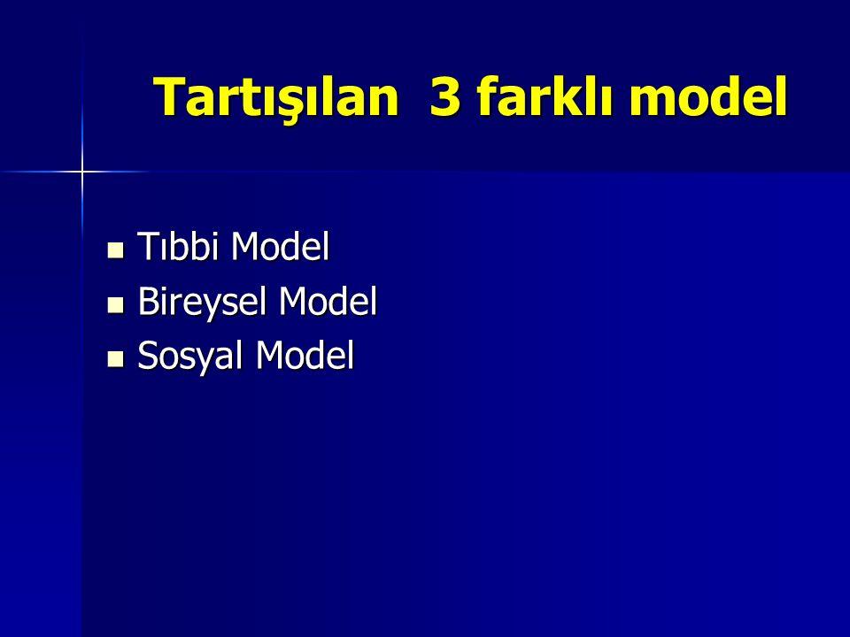 Tartışılan 3 farklı model Tartışılan 3 farklı model Tıbbi Model Tıbbi Model Bireysel Model Bireysel Model Sosyal Model Sosyal Model
