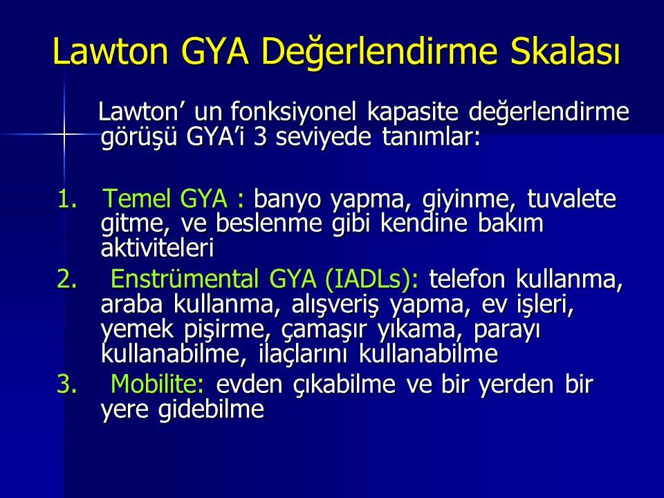 Lawton' un fonksiyonel kapasite değerlendirme görüşü GYA'i 3 seviyede tanımlar: Lawton' un fonksiyonel kapasite değerlendirme görüşü GYA'i 3 seviyede tanımlar: 1.