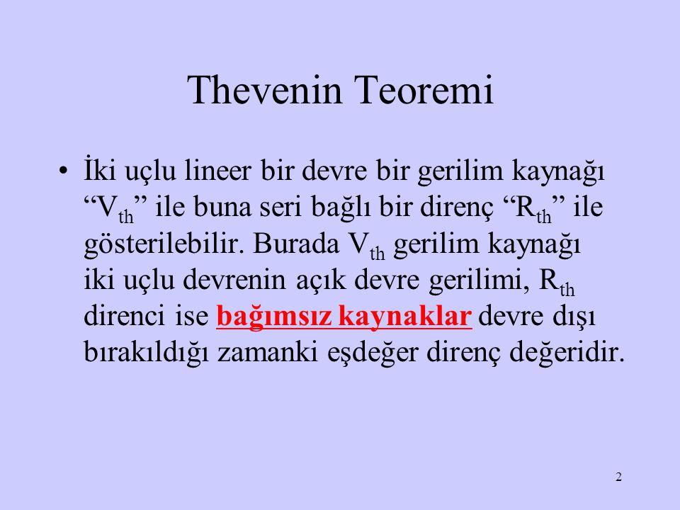 3 (a) orjinal devre, (b) Thevenin eşdeğer devresi d c