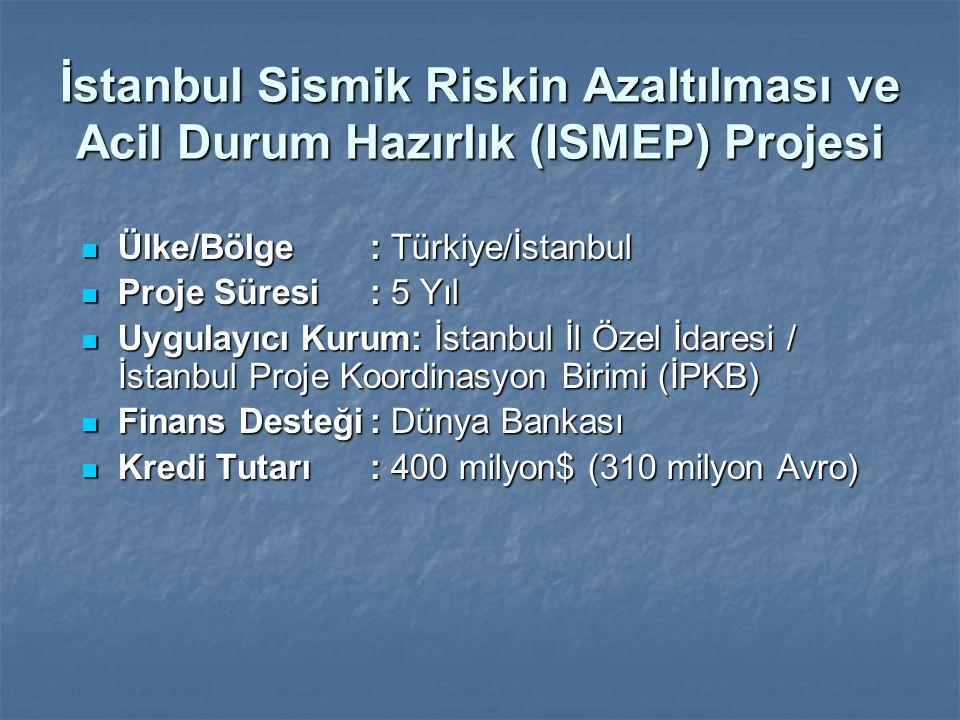 İstanbul Sismik Riskin Azaltılması ve Acil Durum Hazırlık (ISMEP) Projesi Ülke/Bölge: Türkiye/İstanbul Ülke/Bölge: Türkiye/İstanbul Proje Süresi : 5 Y
