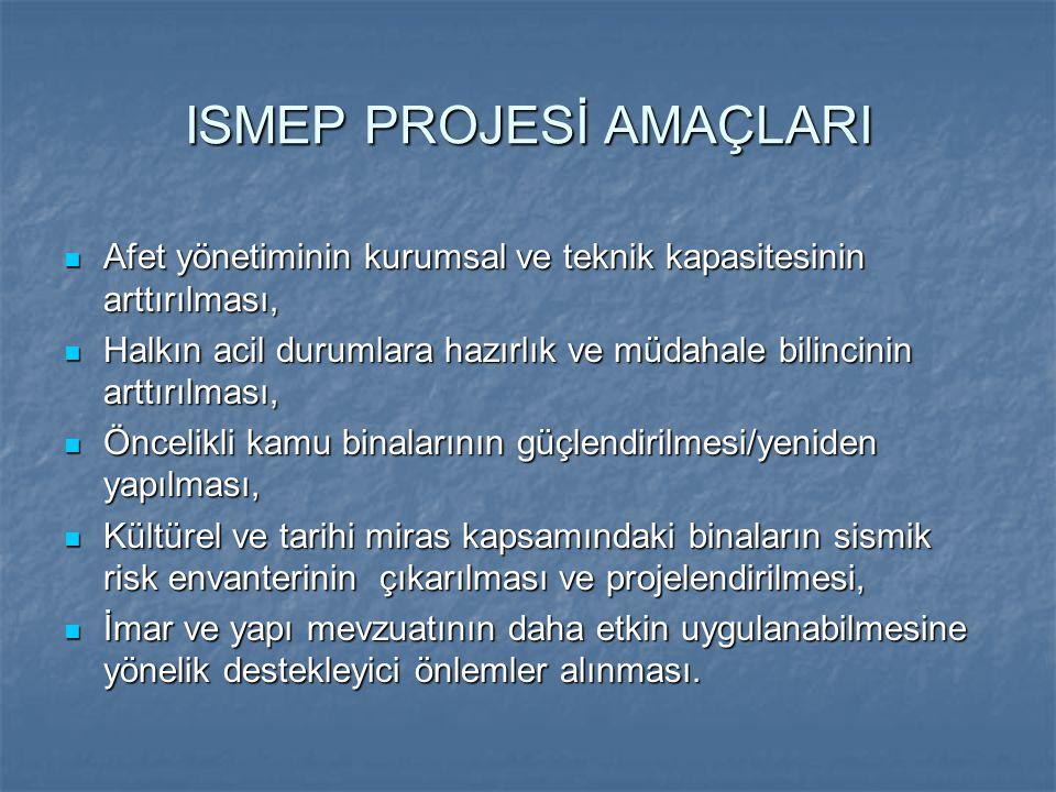 ISMEP PROJESİ AMAÇLARI Afet yönetiminin kurumsal ve teknik kapasitesinin arttırılması, Afet yönetiminin kurumsal ve teknik kapasitesinin arttırılması,