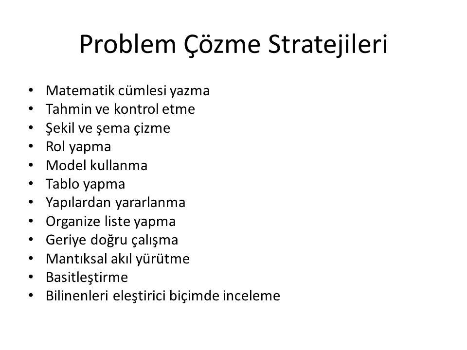 Problem Çözme Stratejileri Matematik cümlesi yazma Tahmin ve kontrol etme Şekil ve şema çizme Rol yapma Model kullanma Tablo yapma Yapılardan yararlan