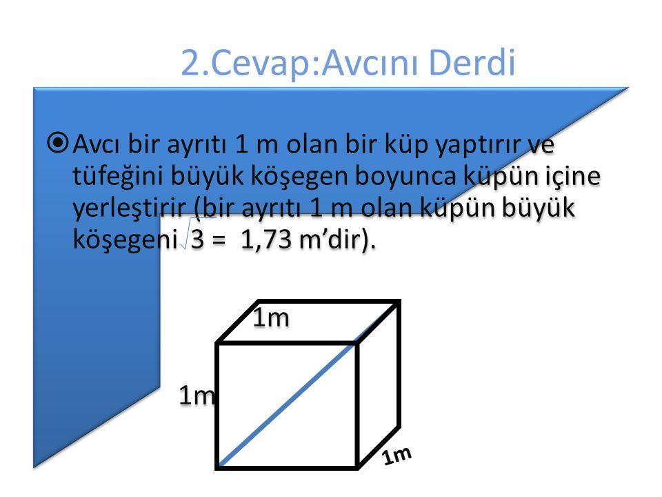 2.Cevap:Avcını Derdi  Avcı bir ayrıtı 1 m olan bir küp yaptırır ve tüfeğini büyük köşegen boyunca küpün içine yerleştirir (bir ayrıtı 1 m olan küpün büyük köşegeni 3 = 1,73 m'dir).