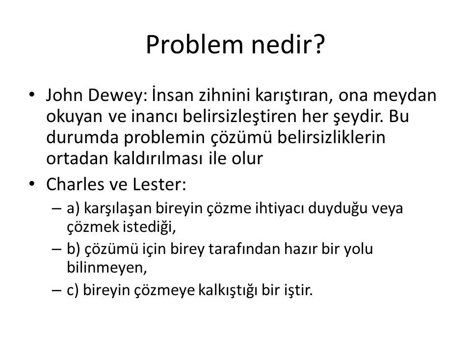 Problem nedir? John Dewey: İnsan zihnini karıştıran, ona meydan okuyan ve inancı belirsizleştiren her şeydir. Bu durumda problemin çözümü belirsizlikl