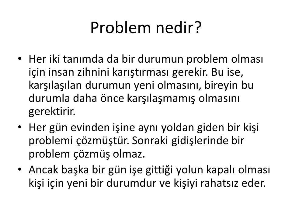 Problem nedir? Her iki tanımda da bir durumun problem olması için insan zihnini karıştırması gerekir. Bu ise, karşılaşılan durumun yeni olmasını, bire
