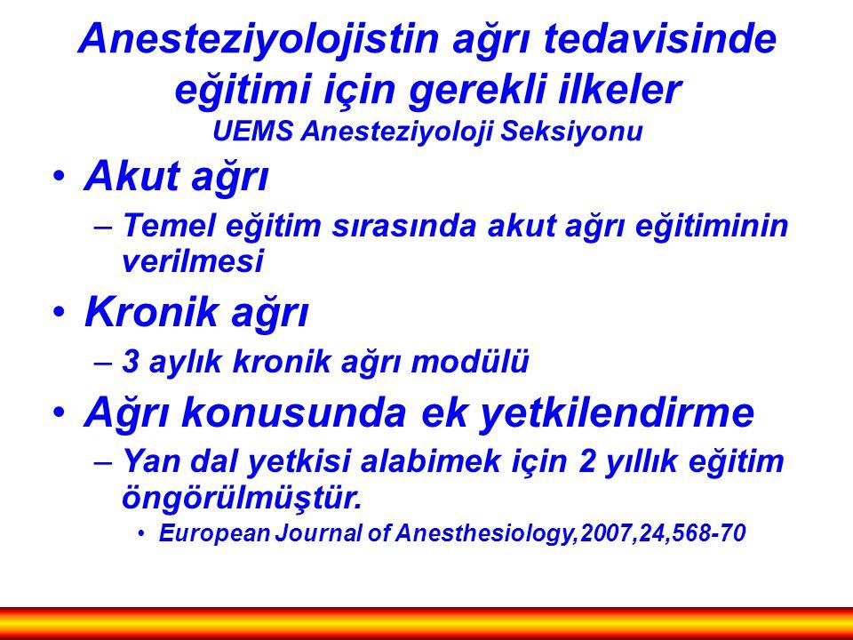 Anesteziyolojistin ağrı tedavisinde eğitimi için gerekli ilkeler UEMS Anesteziyoloji Seksiyonu Akut ağrı –Temel eğitim sırasında akut ağrı eğitiminin