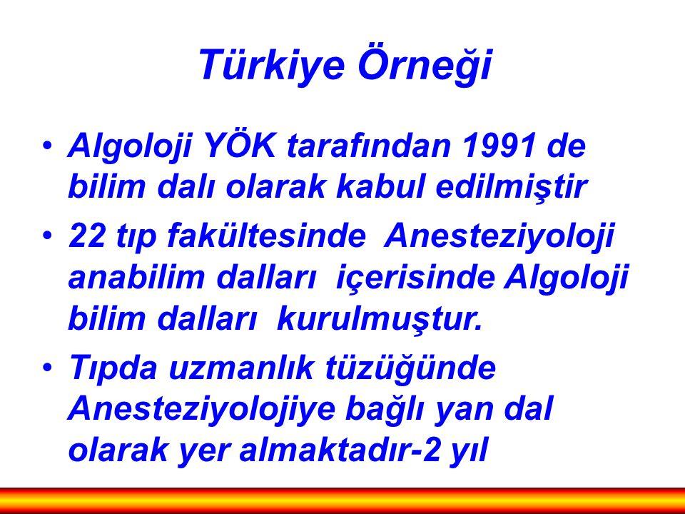 Türkiye Örneği Algoloji YÖK tarafından 1991 de bilim dalı olarak kabul edilmiştir 22 tıp fakültesinde Anesteziyoloji anabilim dalları içerisinde Algol