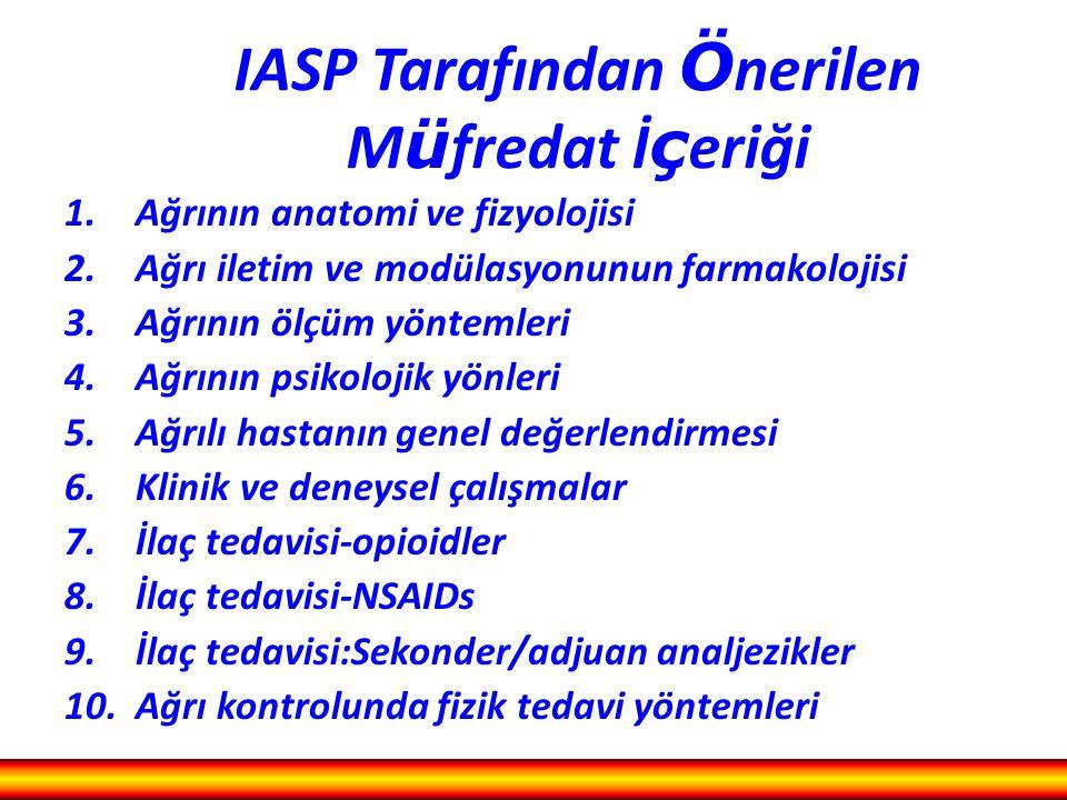 IASP Tarafından Ö nerilen M ü fredat İ ç eriği 1.Ağrının anatomi ve fizyolojisi 2.Ağrı iletim ve modülasyonunun farmakolojisi 3.Ağrının ölçüm yöntemle