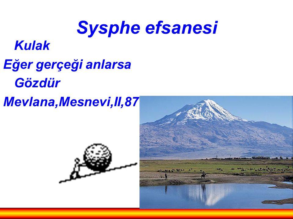 Sysphe efsanesi Kulak Eğer gerçeği anlarsa Gözdür Mevlana,Mesnevi,II,871