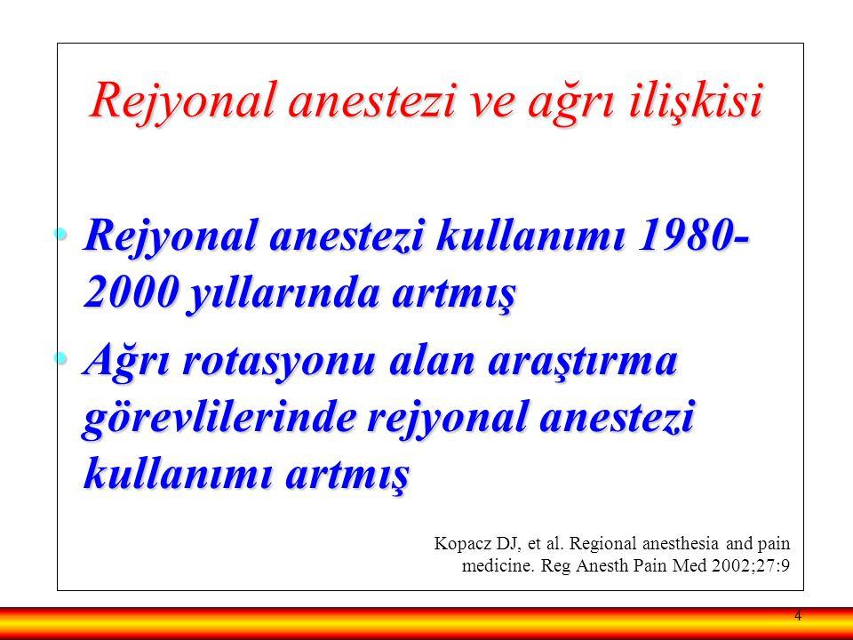 Rejyonal anestezi ve ağrı ilişkisi Rejyonal anestezi kullanımı 1980- 2000 yıllarında artmış Rejyonal anestezi kullanımı 1980- 2000 yıllarında artmış A