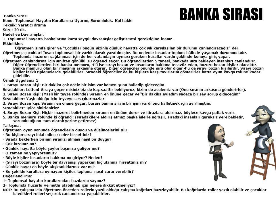 Banka Sırası Konu: Toplumsal Hayatın Kurallarına Uyarım, Sorumluluk, Kul hakkı Teknik: Yaratıcı drama Süre: 20 dk. Hedef ve Davranışlar: 1. Toplumsal
