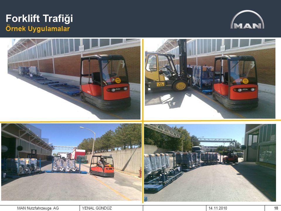 MAN Nutzfahrzeuge AGYENAL GÜNDÜZ14.11.201018 Koltuk Taşıyıcı Projesi Proje Öncesi Durum Forklift Trafiği Örnek Uygulamalar