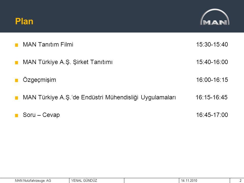 MAN Nutzfahrzeuge AGYENAL GÜNDÜZ14.11.20102 Plan MAN Tanıtım Filmi 15:30-15:40 MAN Türkiye A.Ş. Şirket Tanıtımı 15:40-16:00 Özgeçmişim 16:00-16:15 MAN