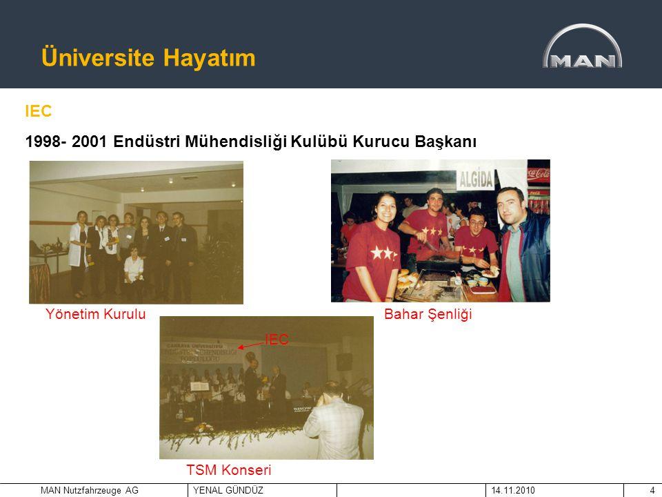 MAN Nutzfahrzeuge AGYENAL GÜNDÜZ14.11.20104 Üniversite Hayatım IEC 1998- 2001 Endüstri Mühendisliği Kulübü Kurucu Başkanı Yönetim Kurulu Bahar Şenliği