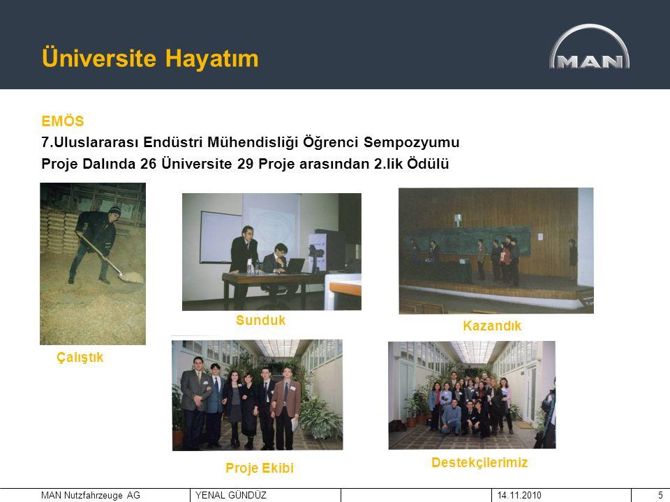 MAN Nutzfahrzeuge AGYENAL GÜNDÜZ14.11.20105 Üniversite Hayatım EMÖS 7.Uluslararası Endüstri Mühendisliği Öğrenci Sempozyumu Proje Dalında 26 Üniversit