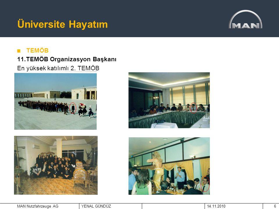 MAN Nutzfahrzeuge AGYENAL GÜNDÜZ14.11.20106 Üniversite Hayatım TEMÖB 11.TEMÖB Organizasyon Başkanı En yüksek katılımlı 2. TEMÖB