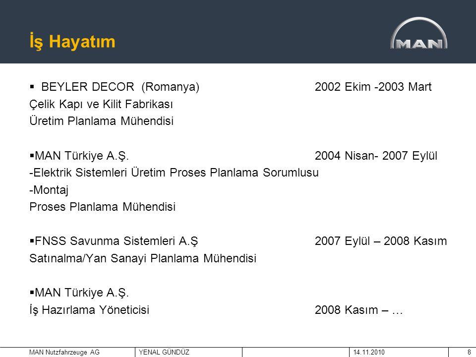 MAN Nutzfahrzeuge AGYENAL GÜNDÜZ14.11.20108 İş Hayatım  BEYLER DECOR (Romanya)2002 Ekim -2003 Mart Çelik Kapı ve Kilit Fabrikası Üretim Planlama Mühe