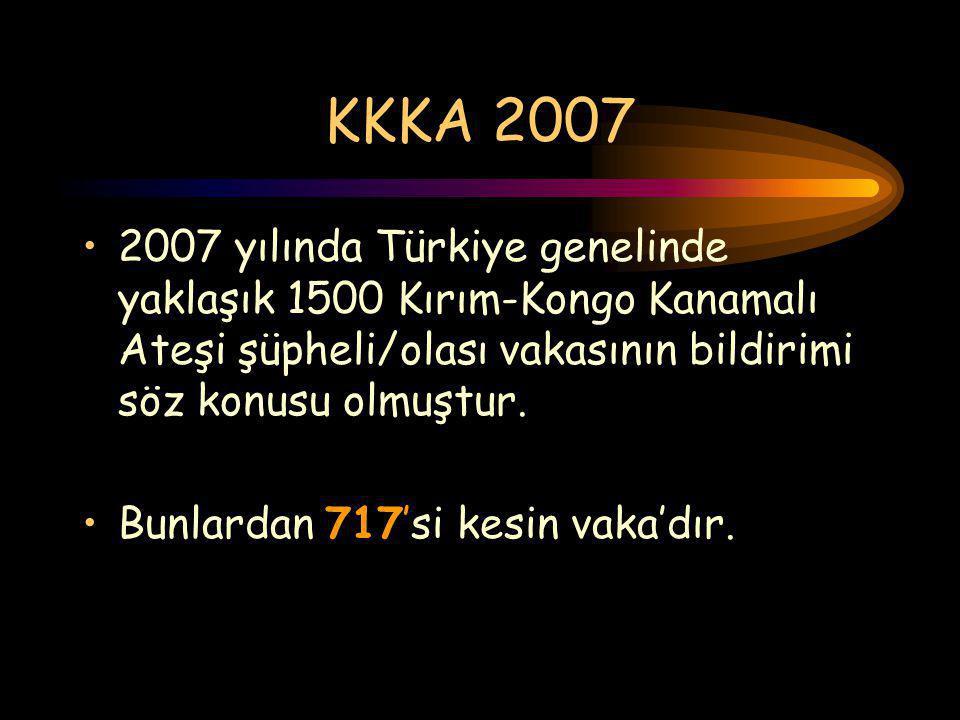 KKKA 2007 2007 yılında Türkiye genelinde yaklaşık 1500 Kırım-Kongo Kanamalı Ateşi şüpheli/olası vakasının bildirimi söz konusu olmuştur. Bunlardan 717