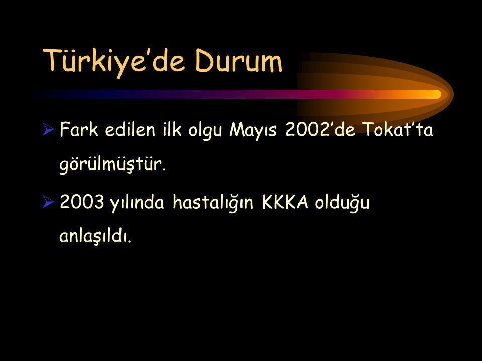 Türkiye'de Durum  Fark edilen ilk olgu Mayıs 2002'de Tokat'ta görülmüştür.  2003 yılında hastalığın KKKA olduğu anlaşıldı.