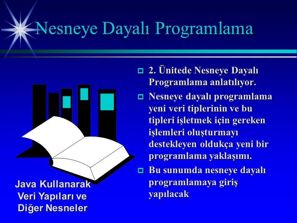 p 2. Ünitede Nesneye Dayalı Programlama anlatılıyor.