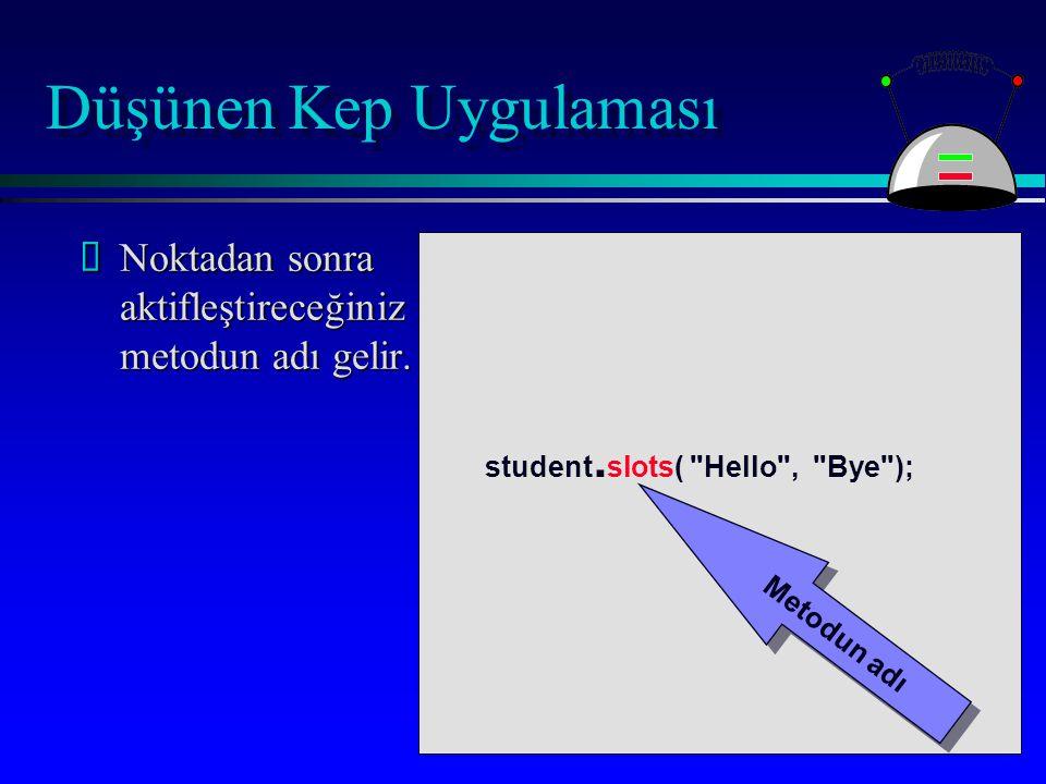 Düşünen Kep Uygulaması ŽNoktadan sonra aktifleştireceğiniz metodun adı gelir.