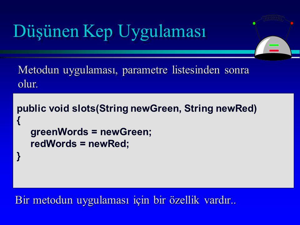 Düşünen Kep Uygulaması public void slots(String newGreen, String newRed) { greenWords = newGreen; redWords = newRed; } Metodun uygulaması, parametre listesinden sonra olur.