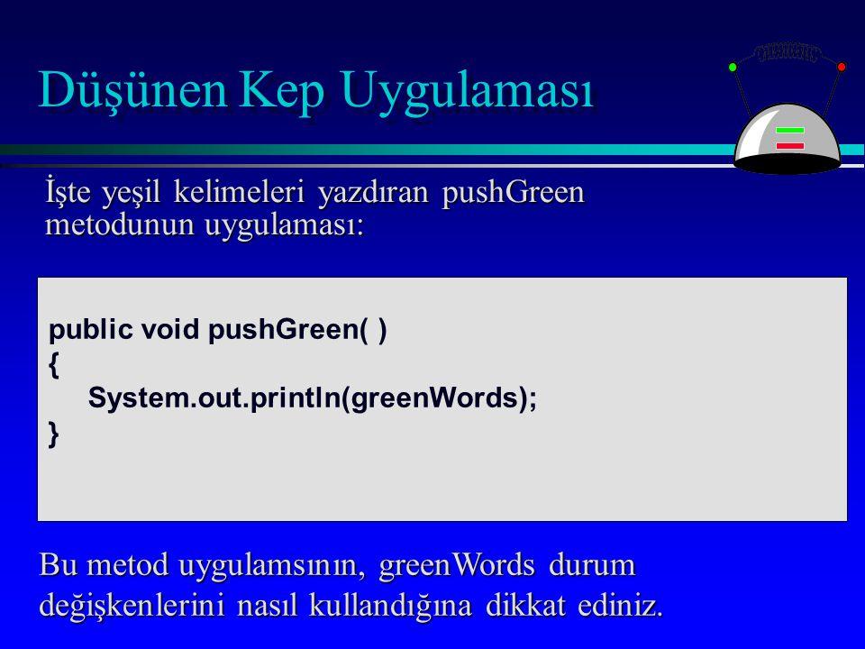 Düşünen Kep Uygulaması İşte yeşil kelimeleri yazdıran pushGreen metodunun uygulaması: Bu metod uygulamsının, greenWords durum değişkenlerini nasıl kullandığına dikkat ediniz.