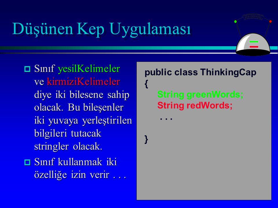 Düşünen Kep Uygulaması public void slots(String newGreen, String newRed) { greenWords = newGreen; redWords = newRed; } Metodun gövdesinin içinde, sınıfın durum değişkenleri ve diğer metodlarının hepsine erişilebilir.