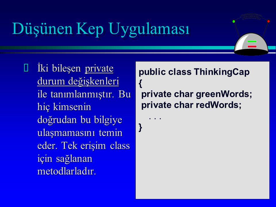 Düşünen Kep Uygulaması Bir sınıfta, classı işleten metodlar da listelenmiştir.