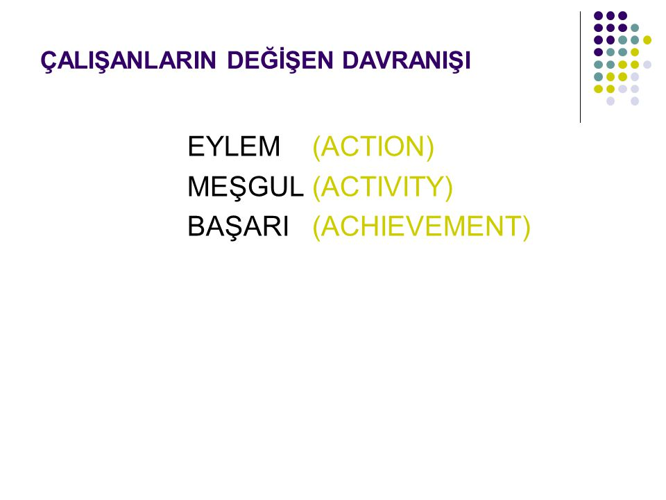 ÇALIŞANLARIN DEĞİŞEN DAVRANIŞI EYLEM (ACTION) MEŞGUL (ACTIVITY) BAŞARI (ACHIEVEMENT)