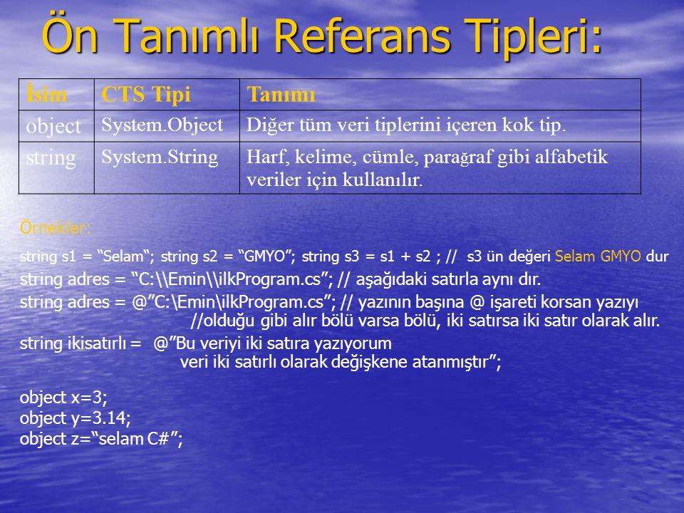 Ön Tanımlı Referans Tipleri: İsimCTS TipiTanımı object System.ObjectDiğer tüm veri tiplerini içeren kok tip. string System.StringHarf, kelime, cümle,