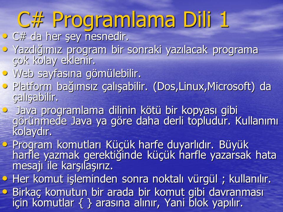 C# Programlama Dili 1 C# da her şey nesnedir. C# da her şey nesnedir. Yazdığımız program bir sonraki yazılacak programa çok kolay eklenir. Yazdığımız