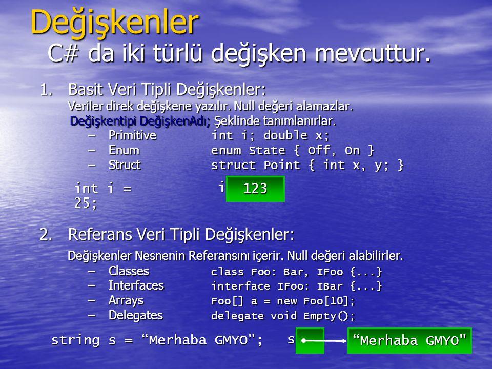 Değişkenler C# da iki türlü değişken mevcuttur. 1.Basit Veri Tipli Değişkenler: Veriler direk değişkene yazılır. Null değeri alamazlar. Değişkentipi D