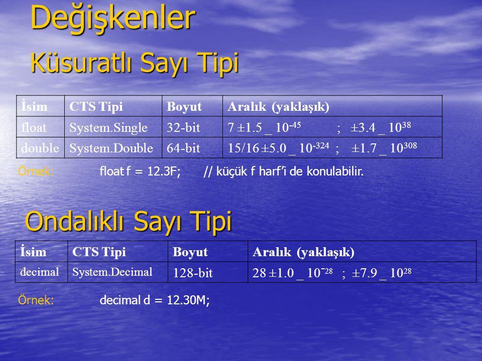 Değişkenler Küsuratlı Sayı Tipi İsimCTS TipiBoyutAralık (yaklaşık) floatSystem.Single32-bit7 ±1.5 _ 10 -45 ; ±3.4 _ 10 38 doubleSystem.Double64-bit15/