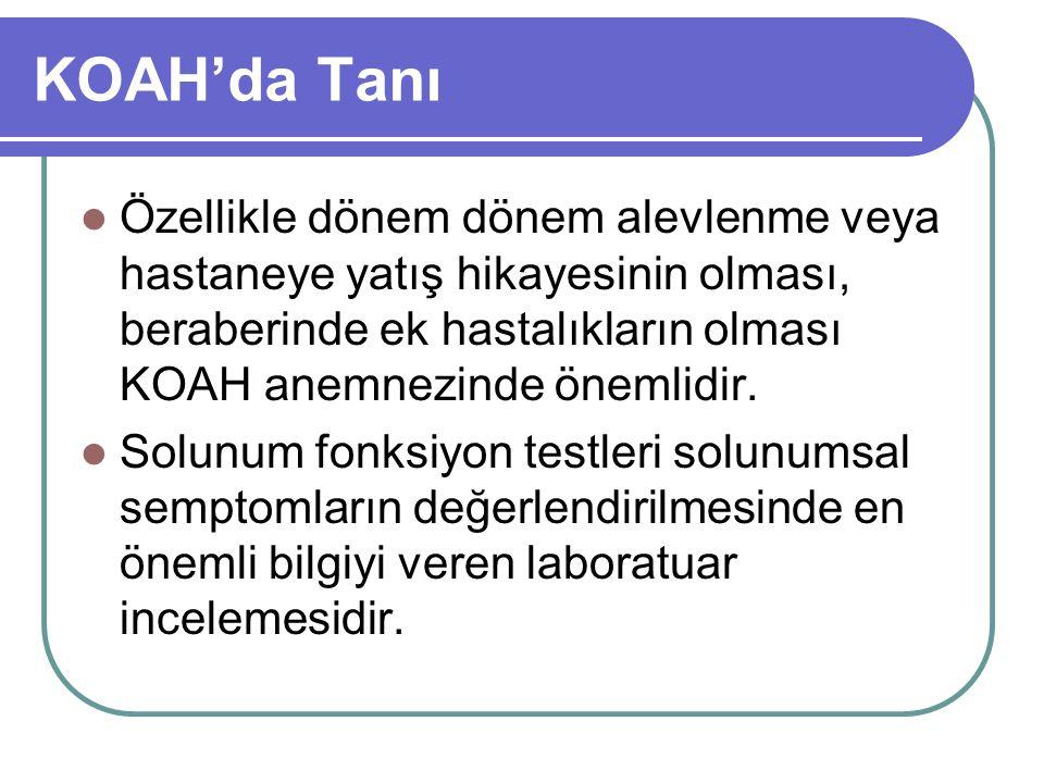 KOAH'da Tanı Özellikle dönem dönem alevlenme veya hastaneye yatış hikayesinin olması, beraberinde ek hastalıkların olması KOAH anemnezinde önemlidir.