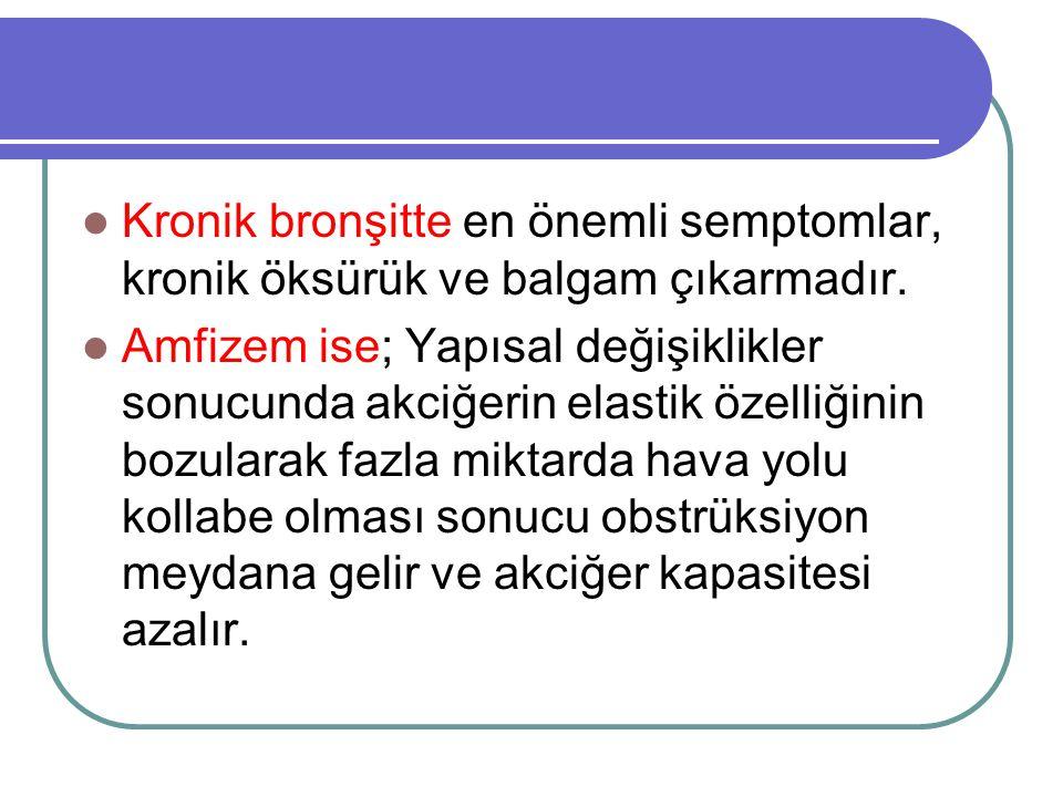 Kronik bronşitte en önemli semptomlar, kronik öksürük ve balgam çıkarmadır. Amfizem ise; Yapısal değişiklikler sonucunda akciğerin elastik özelliğinin