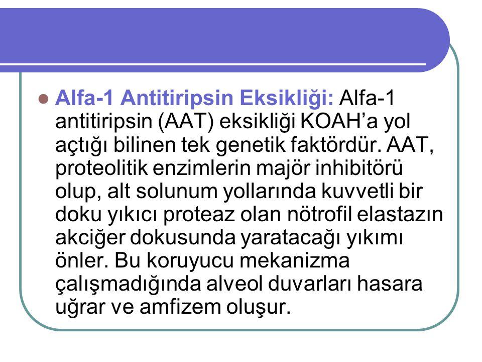 Alfa-1 Antitiripsin Eksikliği: Alfa-1 antitiripsin (AAT) eksikliği KOAH'a yol açtığı bilinen tek genetik faktördür. AAT, proteolitik enzimlerin majör