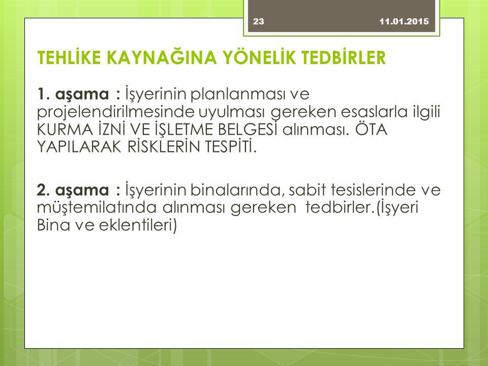 TEHLİKE KAYNAĞINA YÖNELİK TEDBİRLER 1.