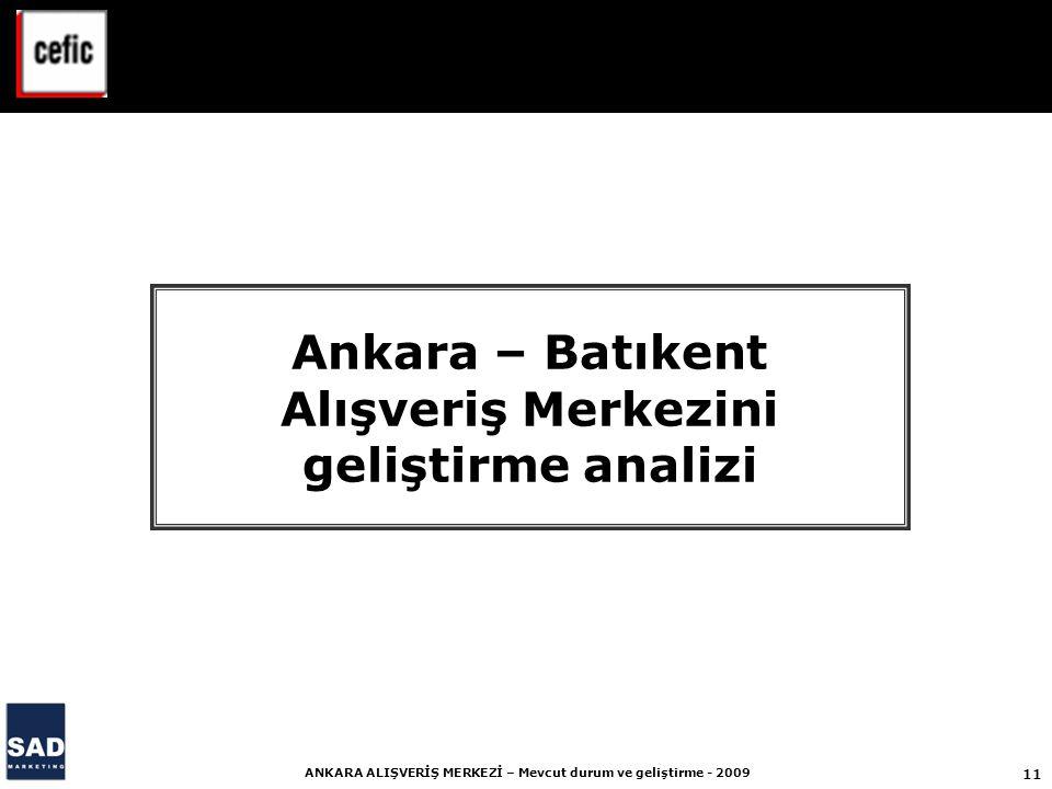 11 ANKARA ALIŞVERİŞ MERKEZİ – Mevcut durum ve geliştirme - 2009 Ankara – Batıkent Alışveriş Merkezini geliştirme analizi