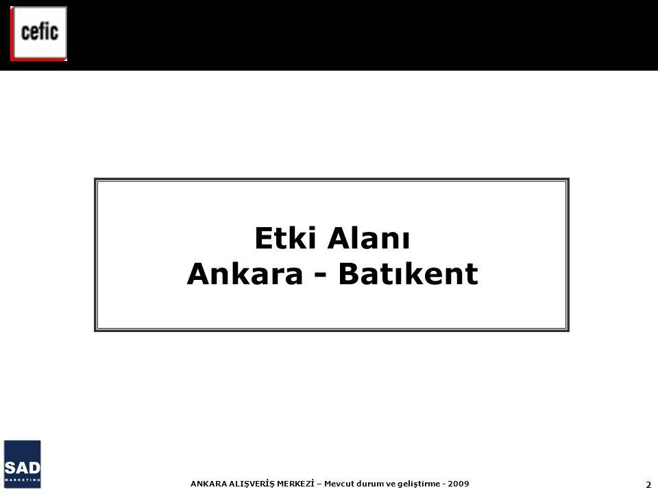2 ANKARA ALIŞVERİŞ MERKEZİ – Mevcut durum ve geliştirme - 2009 Etki Alanı Ankara - Batıkent