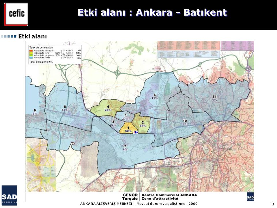 3 ANKARA ALIŞVERİŞ MERKEZİ – Mevcut durum ve geliştirme - 2009 Etki alanı : Ankara - Batıkent Etki alanı