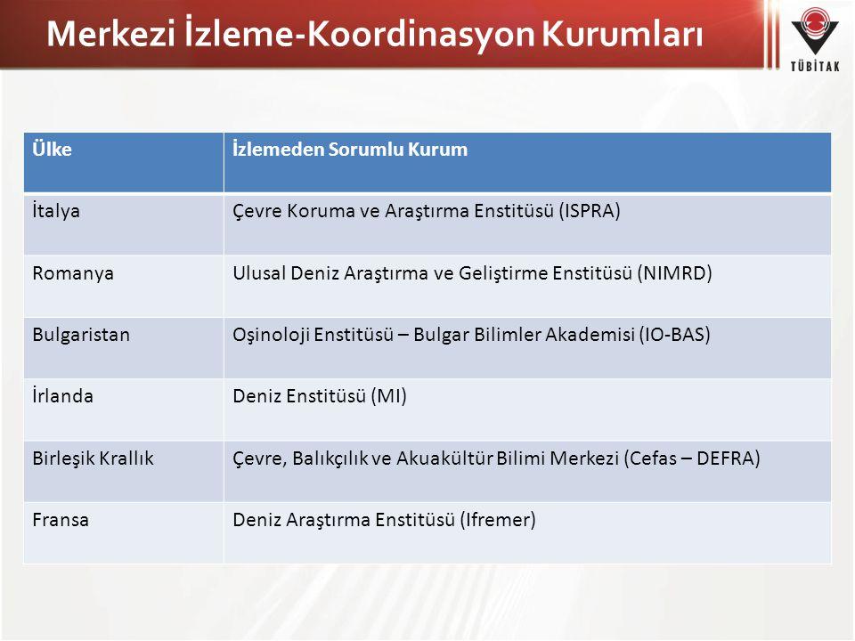 Merkezi İzleme-Koordinasyon Kurumları Ülkeİzlemeden Sorumlu Kurum İtalyaÇevre Koruma ve Araştırma Enstitüsü (ISPRA) RomanyaUlusal Deniz Araştırma ve G